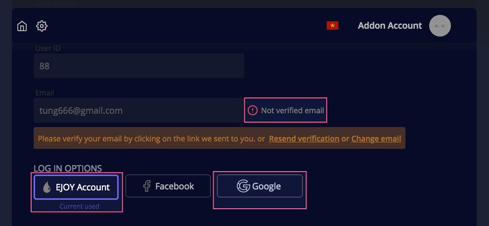 đăng nhập trực tiếp tại eJOY hoặc đăng nhập qua Google